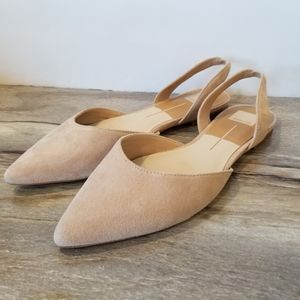 Dolce Vita Abe Suede Pointed Toe Flats Blush Beige